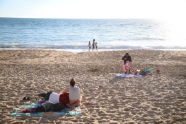 On the beach in Mallorca in January.