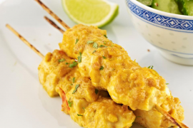 Chicken satay with sesame-cucumber salad