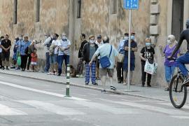 Food bank queue in Palma, Mallorca