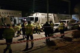 Bin men on strike in the el Raiguer region of Mallorca