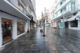 Empty commercial street in Mallorca