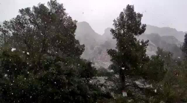 Snow on the Serra de Tramuntana about 700 meters