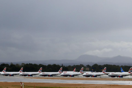 British Airways jets sit parked on the tarmac at Palma de Mallorca airport