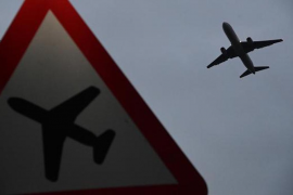 Plane taking off from Heathrow Airport, London.