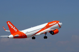 An easyJet Airbus A320-251N takes off from Nice international airport in Nice, France