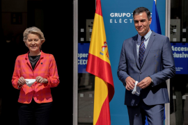 European Commission President von der Leyen and Spain's PM Sanchez pose before their meeting in Madrid