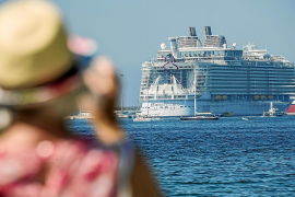 The largest cruise ship in the world dwarfs Palma