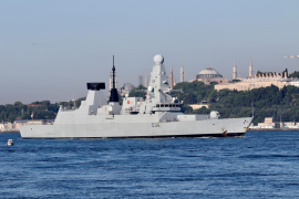 Russian forces fire warning shots at British destroyer in Black Sea