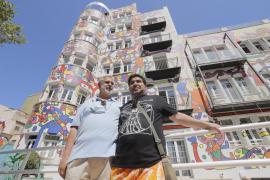 Owner, Jaime España & Artist, José Luis Mesas outside Hotel Artmadams in Palma.
