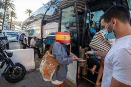 Spanish students leave the 'Covid hotel' in Palma, Mallorca
