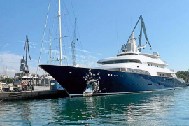 Mega yacht 'Limitless' docked in Palma