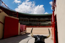 A view of an empty Pamplona's bullring