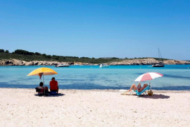 Tourists on the beach in Mallorca.