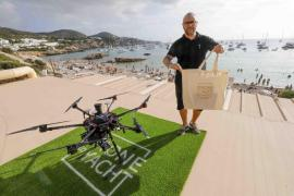 Yacht food delivery by drone in Ibiza