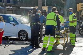 Police in Palma, Mallorca at the scene of an accident involving an electric scooter