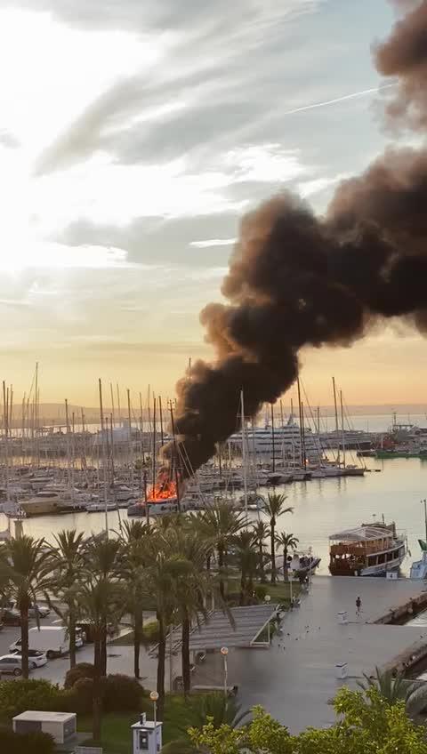 Catamaran on fire in Palma port.