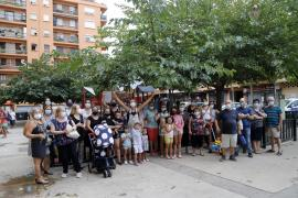 Protest against drug addicts who have taken over a playground