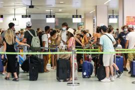 Passengers at Palma Son Sant Joan Airport, Mallorca
