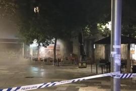 Burger King blaze in Plaça d'Espanya