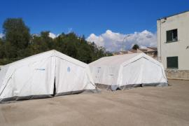 Tents for housing migrants in Palma, Mallorca