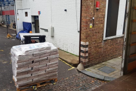 Pallets with Majorca Daily Bulletin newspapers in London