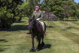 Queen Elizabeth II riding Balmoral Fern in Windsor Home Park.