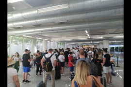 Passengers arriving at Palma Airport.