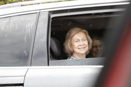 Queen Sofía arriving at Marivent Palace.