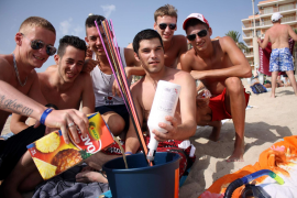 Drinking on Playa de Palma.