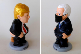 "A combo picture shows a clay ""caganer"" representing U.S. President Trump and a clay ''caganer'' representing Democratic presidential candidate Biden"