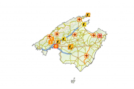 Map of today's roadworks on Mallorca