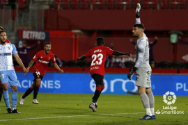 Amath Ndiaye celebrates a goal for Real Mallorca