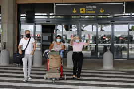 Tourists arriving at Mahon Airport, Menorca