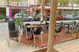 A temporary terrace in Palma, Mallorca