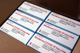 Packets of Moderna COVID-19 vaccine