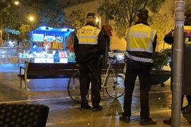 Police in Carrer de Blanquerna, Palma.
