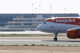 EasyJet airliner lands at Son Sant Joan airport in Palma de Mallorca