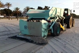 Council employees working on the beach in Alcudia.