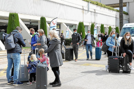 German tourists arriving at Palma Airport, Mallorca