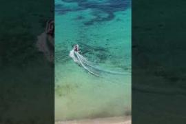 Oil leak in Magalluf beach