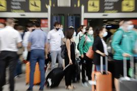British tourists arriving in Mallorca.