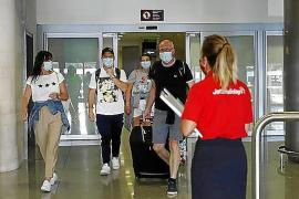 British tourists arriving in Palma.