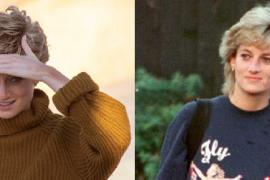 Right: Actress Elizabeth Debicki shooting on Mallorca. Left: Princess Diana